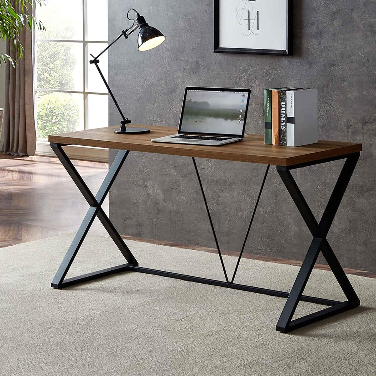 Amazon Com Dyh Industrial Rustic Computer Desk Wood And Metal X Writing Desk Writing Table Fo Rustic Computer Desk Wood And Metal Desk Wood Furniture Design