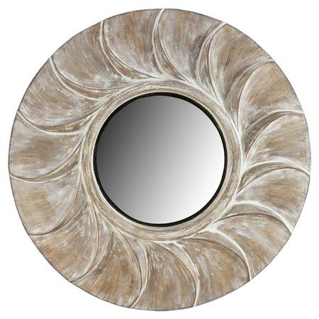 Distressed Wall Mirror With A Rubbed Sun Inspired Frame Product Mirrorconstruction Material