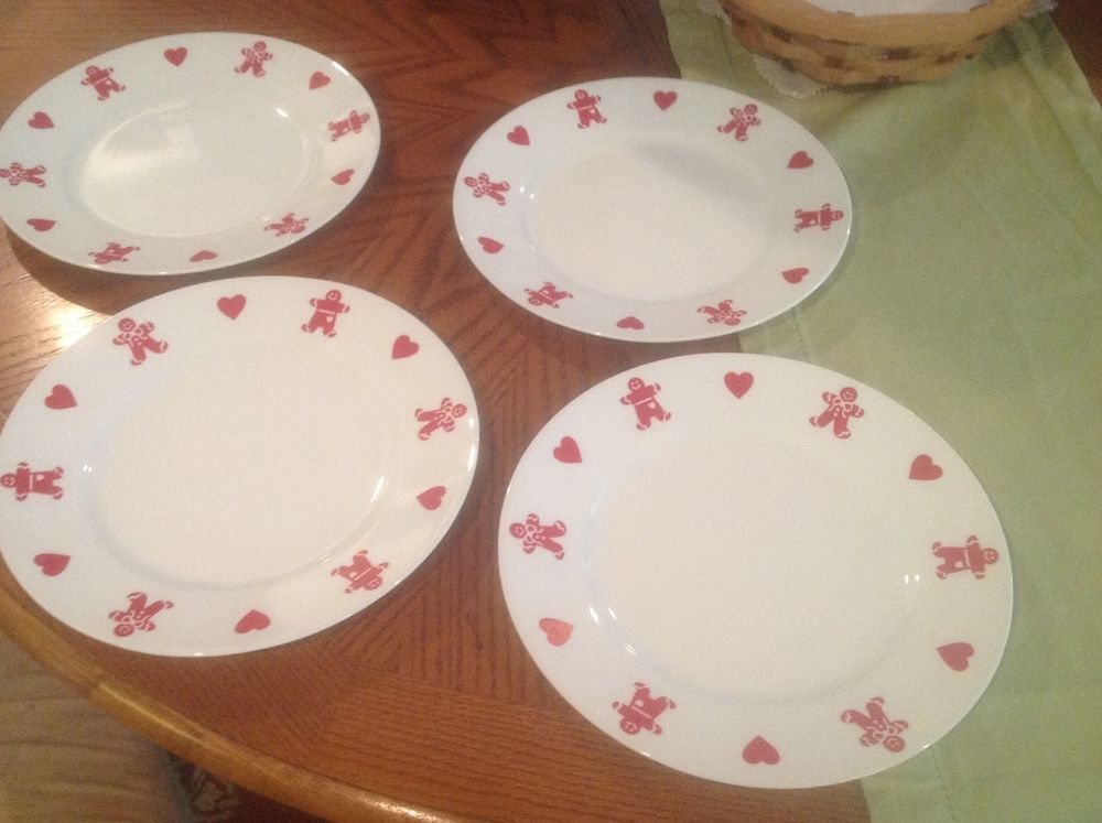 4 Corelle White and Red Gingerbread Men Man Hearts Christmas Dinner Plates & 4 Corelle White and Red Gingerbread Men Man Hearts Christmas Dinner ...