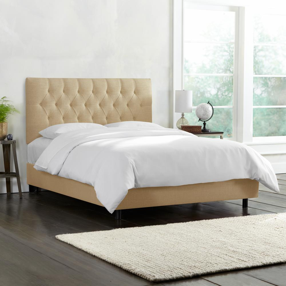 Toni Linen Sandstone California King Diamond Tufted Bed