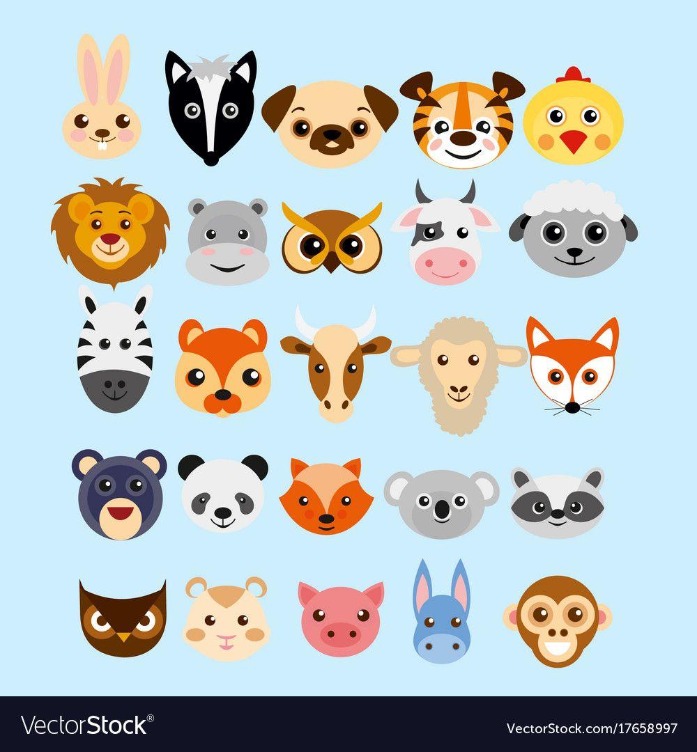 Set of cute cartoon animals vector image on VectorStock