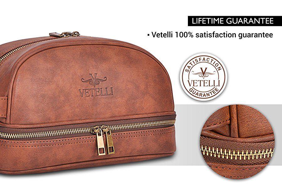 1bd2ae8c9566 Amazon.com  Vetelli Leather Toiletry Bag For Men (Dopp Kit) with ...