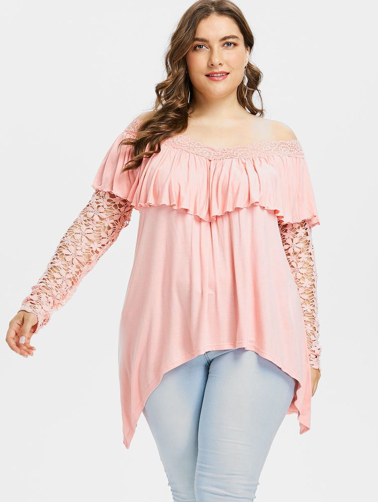 f81c9b1e1 Blusas Tops De Mujer Blusa De Moda Tallas Grandes Elegantes Encaje Plus  Size  MercantilExpress  Blouse  Casual