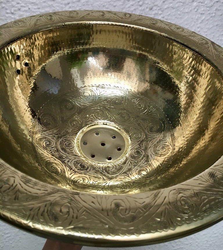Photo of Brass Sink Bathroom Vanity Brass Sink 16 1/4″/ 42 cm, Handmade Moroccan Brass Bathroom Sink, Handcarved Brass Sink