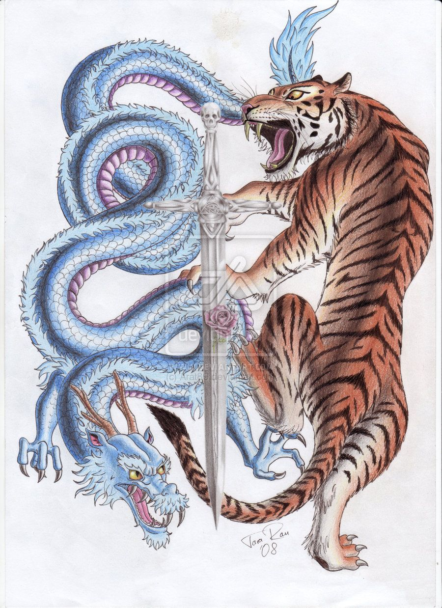 Tiger And Dragon Color Tattoo Design Tiger tattoo design