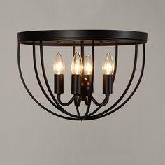 rustic 4-light black metal round cage semi flush mount ceiling