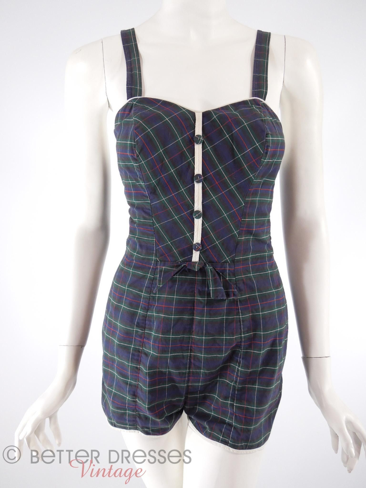7ca5e561b7632 Vintage 1950s Pin-Up Swimsuit and Playsuit in Navy Plaid Cotton - sm by  Better Dresses Vintage