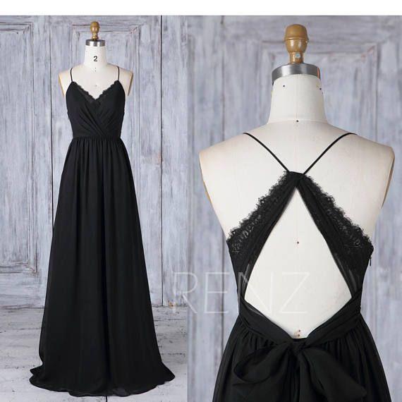 Brautjungfernkleid Chiffon-Kleid schwarz, Brautkleid, Maxikleid mit V-Ausschnitt, Criss Cross-Trägern A-Line Party #elbiseler