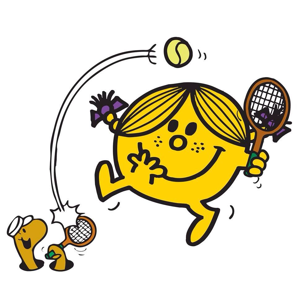 テニスをしているニコニコちゃんとミミズです。