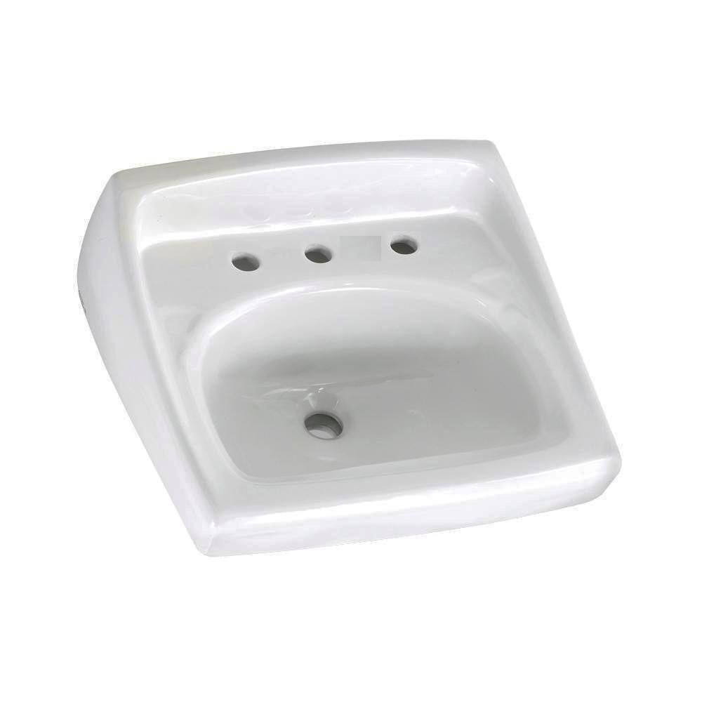 American Standard Lucerne Wall Mounted Bathroom Sink For Exposed Bracket Support By Others With Faucet Centers In White 736750 Wall Mounted Bathroom Sinks Lavatory Sink Sink