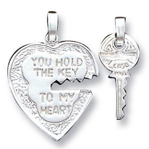 Silver Heart and Key pendants -wanelo.com  87607fdc2
