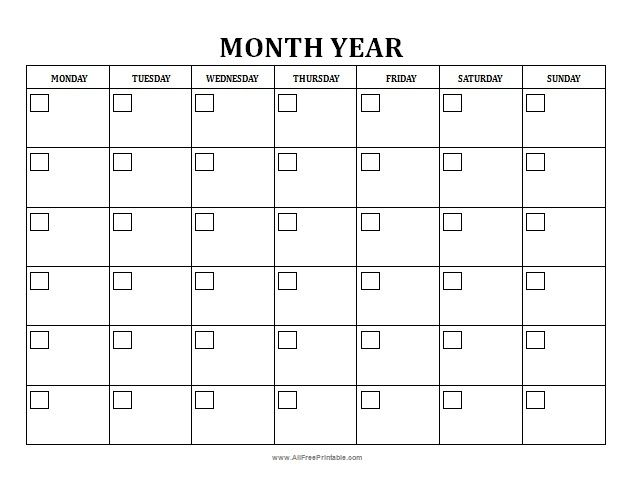 Free Printable Blank Monthly Calendar  Useful And Inexpensive