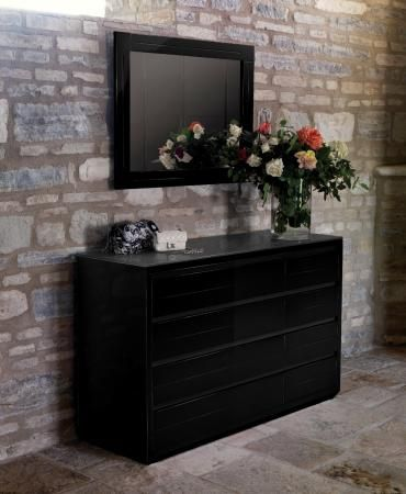 adria casabella high gloss extra wide black or white chest of