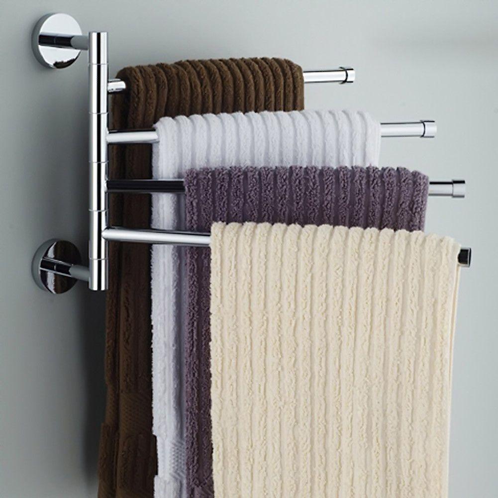 4 Bars Towel Bar Stainless Steel Rod Towel Rack Rotating Bathroom