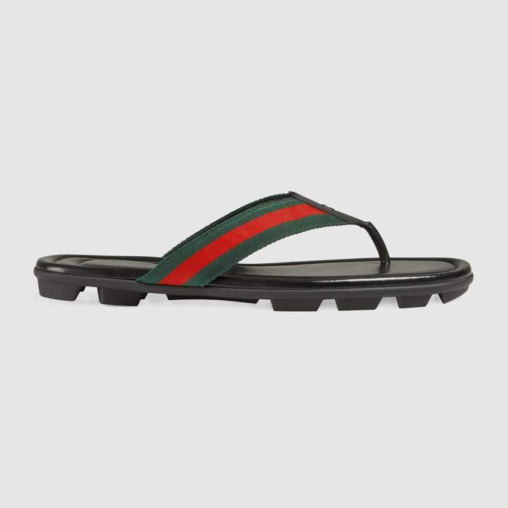 3102d7f4de3 Gucci Web and leather thong sandal