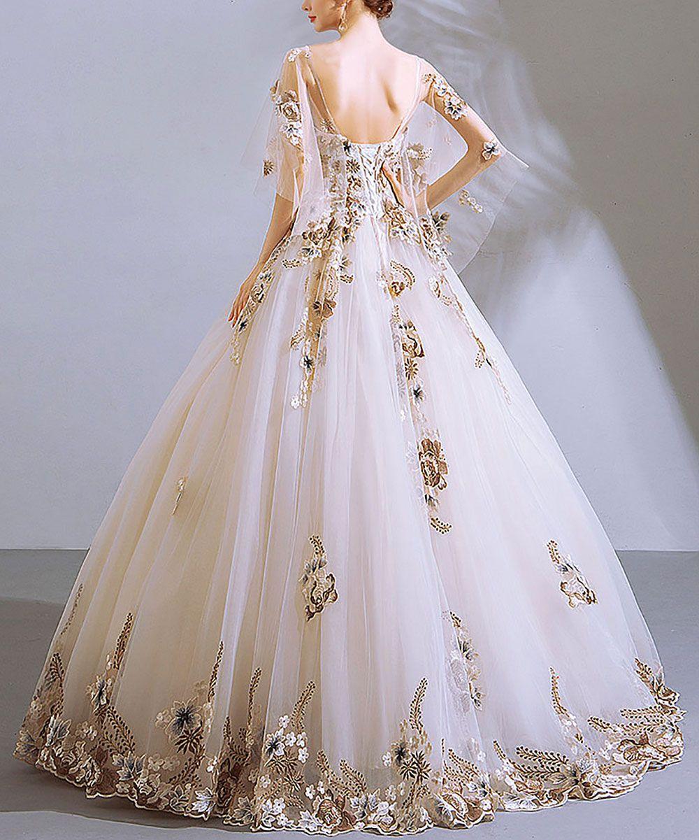Coeur de Vague White & Gold Floral-Appliqué Flutter-Sleeve Gown