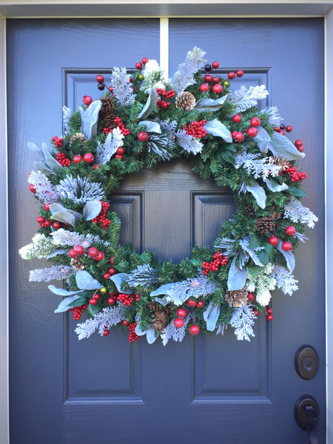 Amazing Large Christmas Wreath, Red White Green Wreath, Holiday Decor, Large Door  Wreaths,