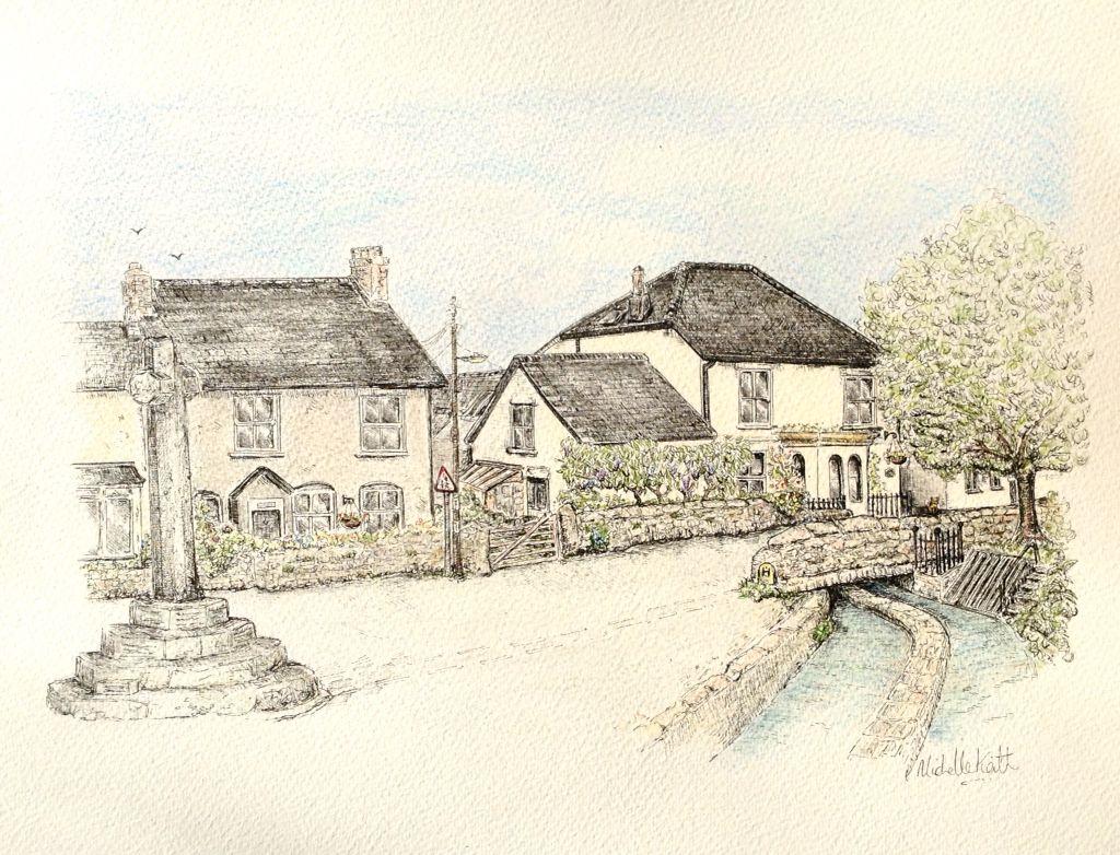 English village devon penink and pencil by michelle