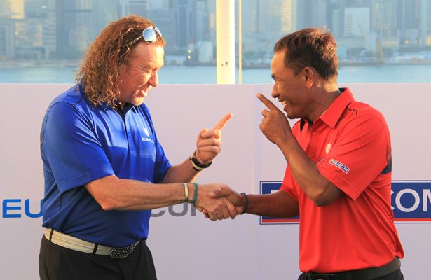 "Han believes Thongchai Jaidee (right), pictured with Europe playing-captain Miguel Angel Jimenez (left), will be ""a great captain"" for Team Asia due to his experience on both the Asian Tour and European Tour."