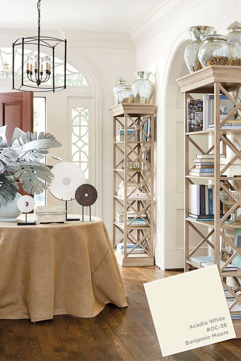 Benjamin Moore S Acadia White Paint Color From Ballard Designs Catalog Living Room Furniture Layout Furniture Layout Foyer Design