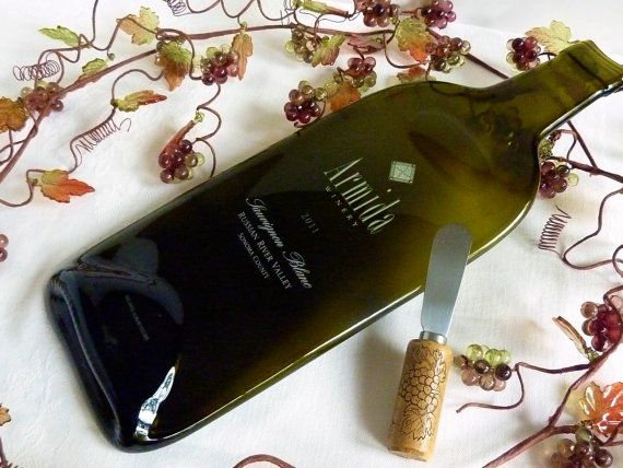 Slumped glass wine bottle cheese plate from Armida by bprdesigns & Slumped glass wine bottle cheese plate from Armida by bprdesigns ...