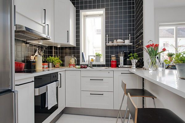 apartment kitchens designs. Comfortable Small Apartment With Elegant Black Tiled Wall Kitchen Design And White Cabinet Kitchens Designs