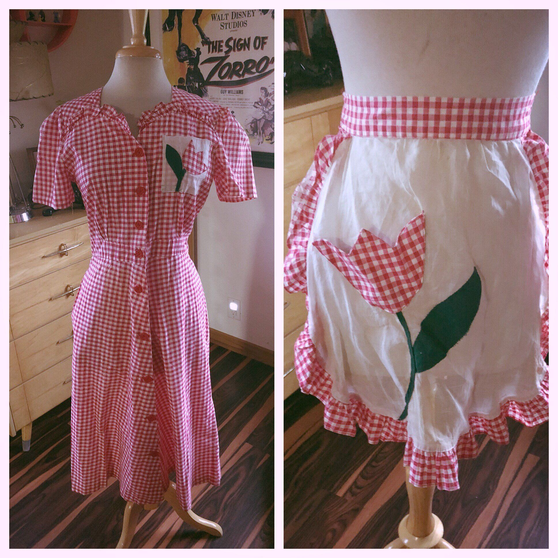 33b5b10861e3 Vintage 1940s Dress red white gingham flower matching apron Swing  Rockabilly Pinup M L Medium Large 40s by greendragonlady on Etsy
