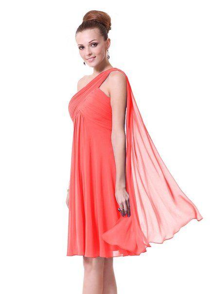 Ever Pretty Robe de Demoiselle d'honneur avec une šŠpaule en fleur de volant 8UK Corail rouge