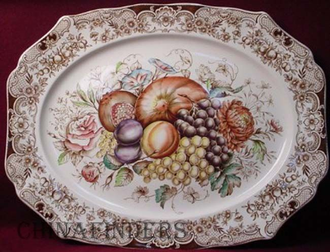 a vintage johnson brothers windsor ware 20 platter in the harvest fruit pattern photo - Thanksgiving China Patterns