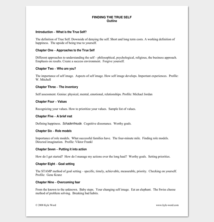 Self Help Book Outline Template  Outline Templates  Create A