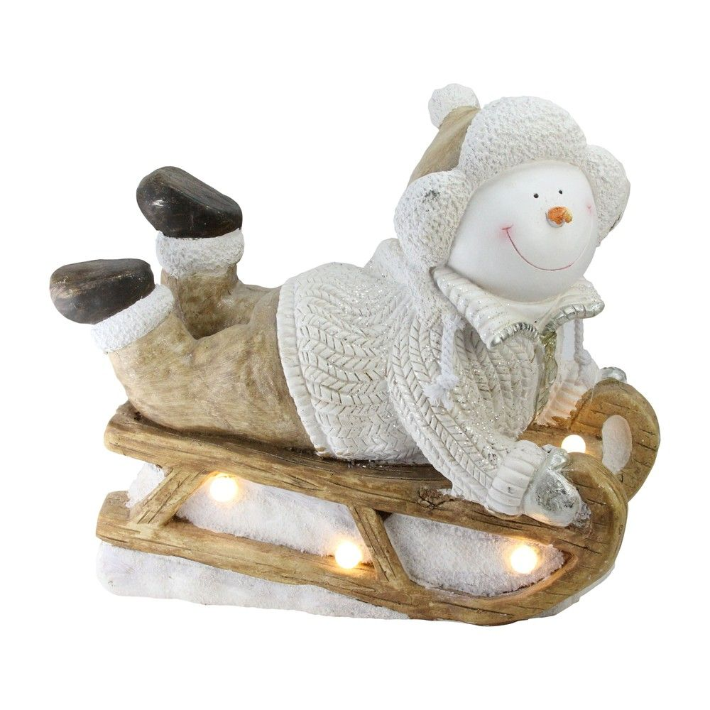 "Northlight 15.5"" Battery Operated LED Lit Snowman Sleigh"