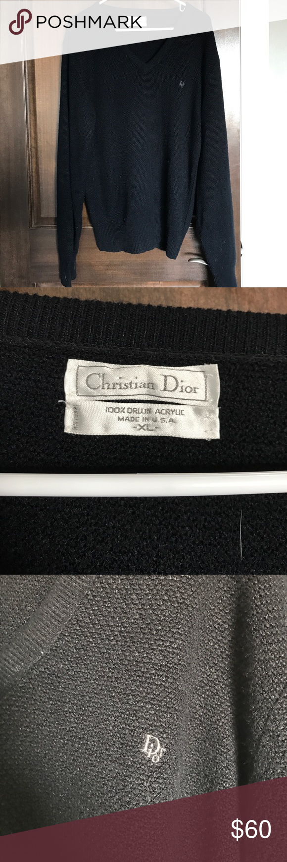 Men's Christian Dior v-neck sweater Beautiful Christian Dior v-neck sweater. In perfect condition-was a gift for my husband who didn't end up liking the way it fit and only worn 2 times. Christian Dior Sweaters V-Neck