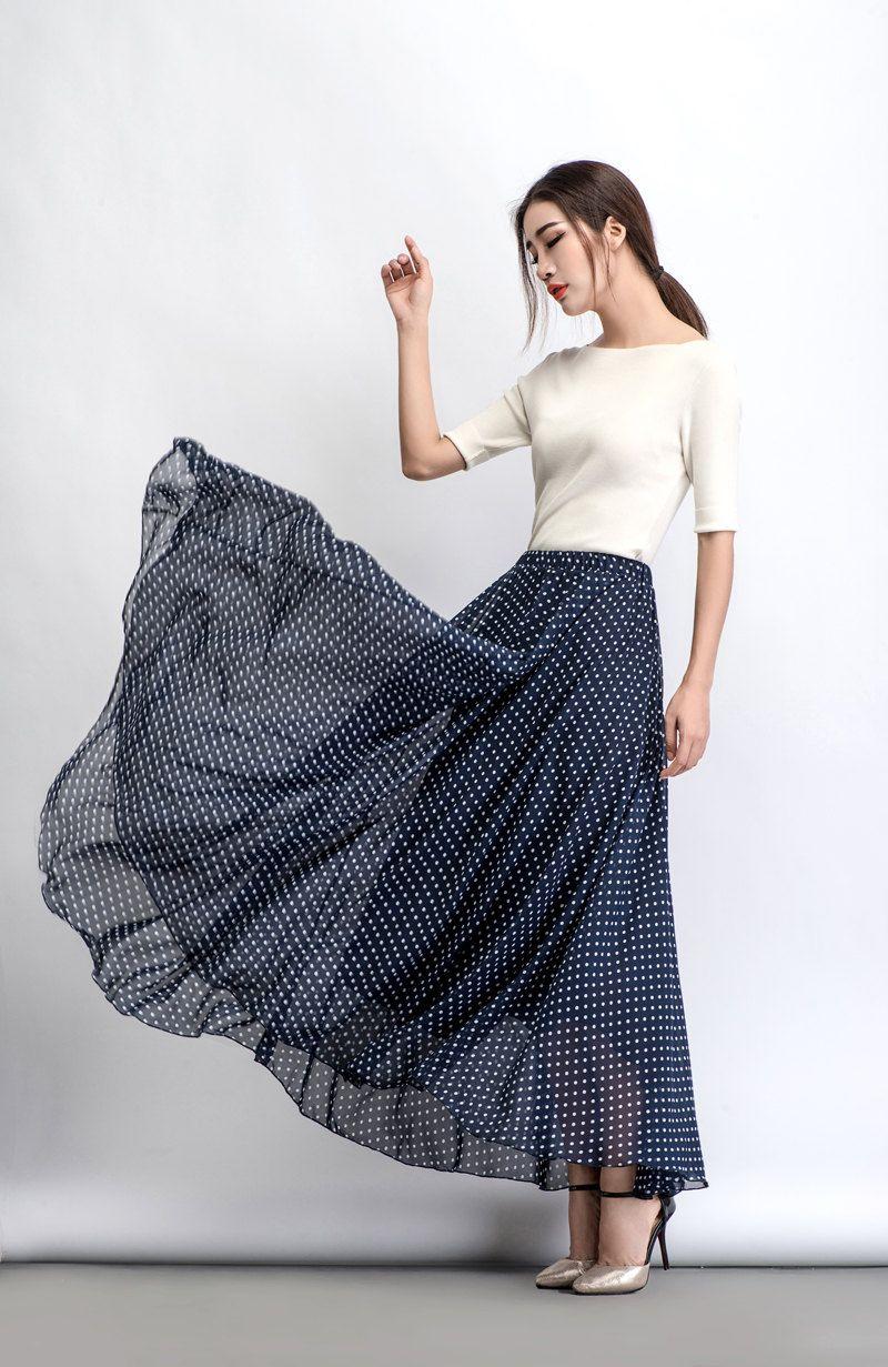 Chiffon Skirt Polka Dot Maxi Skirt Floaty Skirt Long
