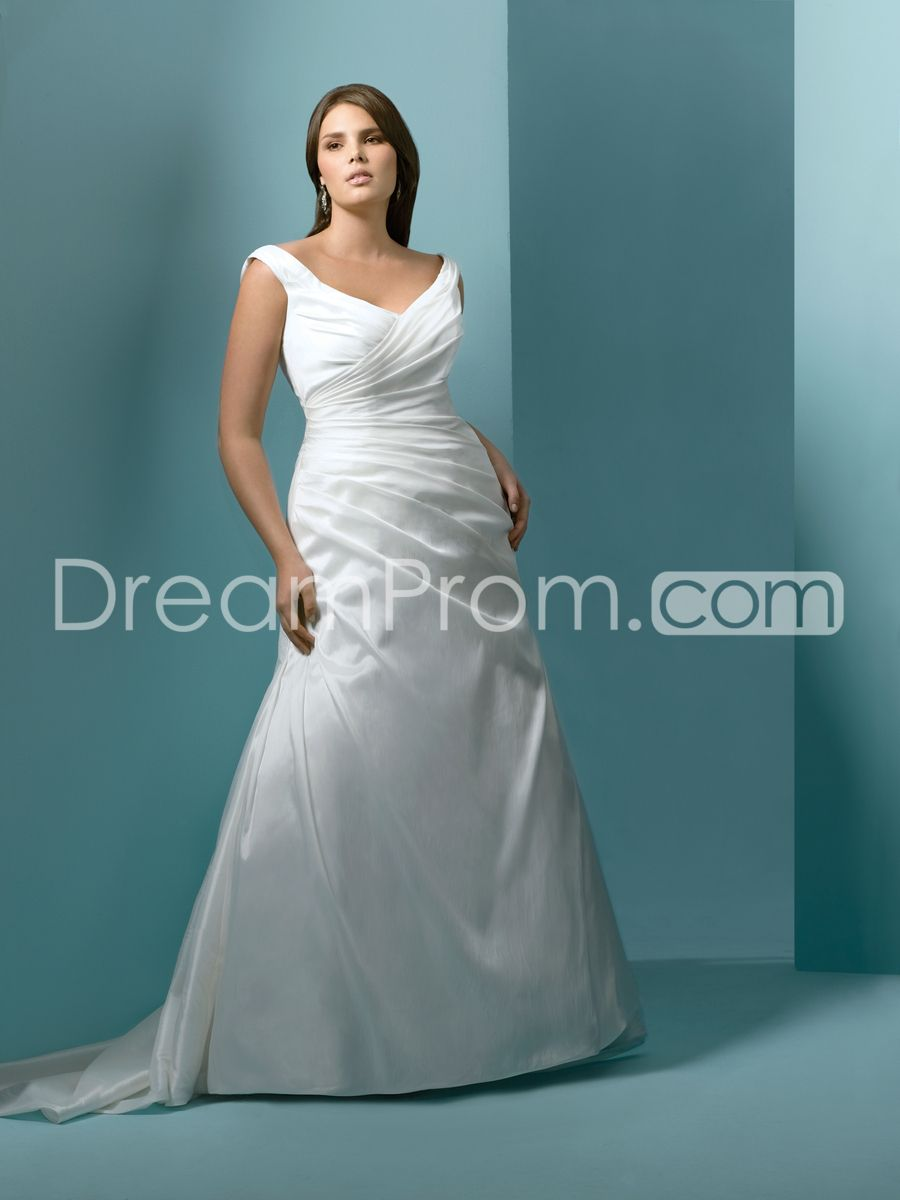 Glorious V Neck A Line Floor Length Chapel Ruched Plus Size Wedding Dresses Wedding Dresses Dresses Preowned Wedding Gowns [ 1200 x 900 Pixel ]