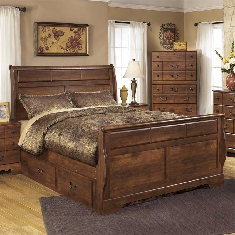 Ashley Timberline Wood Queen Drawer Sleigh Bed In Warm Brown Storage Bed Queen Bed Storage