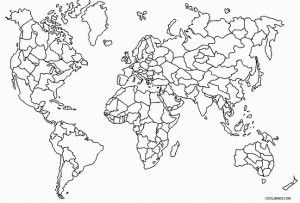 World Map Coloring Page with Countries Labeled World map