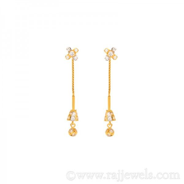 444397281 #Floral design dangle #earrings, popularly known as #SuiDhaga, in 22 karat