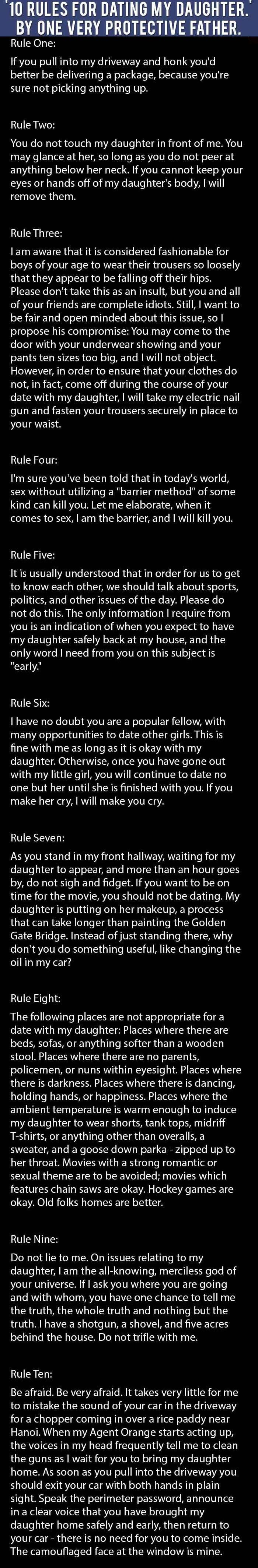 Rules for Dating my Daughter(joke)
