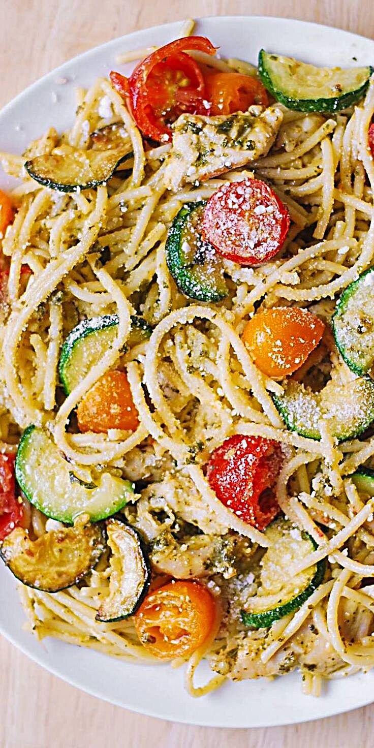 - Parmesan Zucchini Tomato Chicken Spaghetti – a delicious Mediterranean pasta toss with basil pesto...