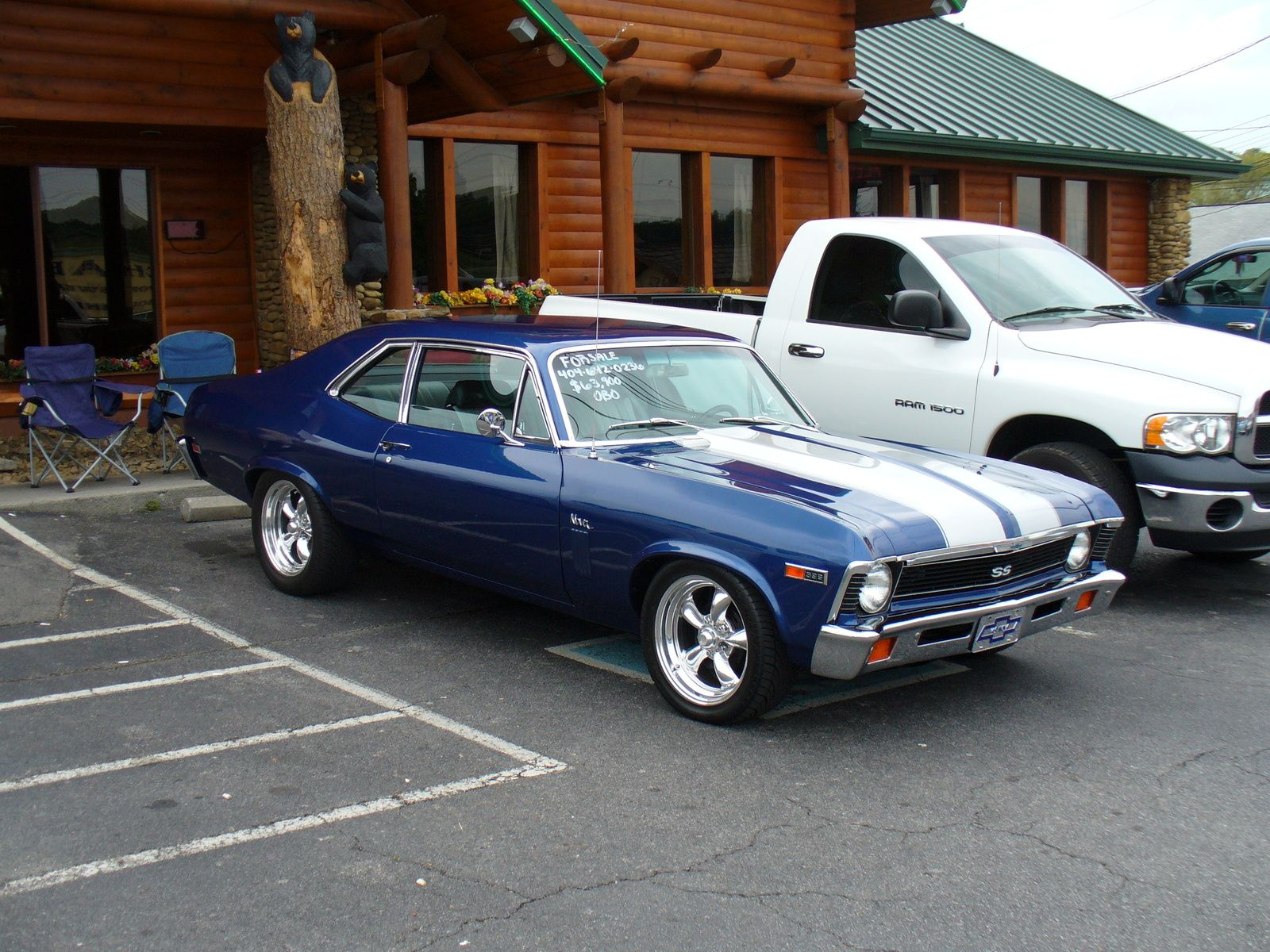 1969 chevrolet nova ss like the blue with white stripes and the rims nice