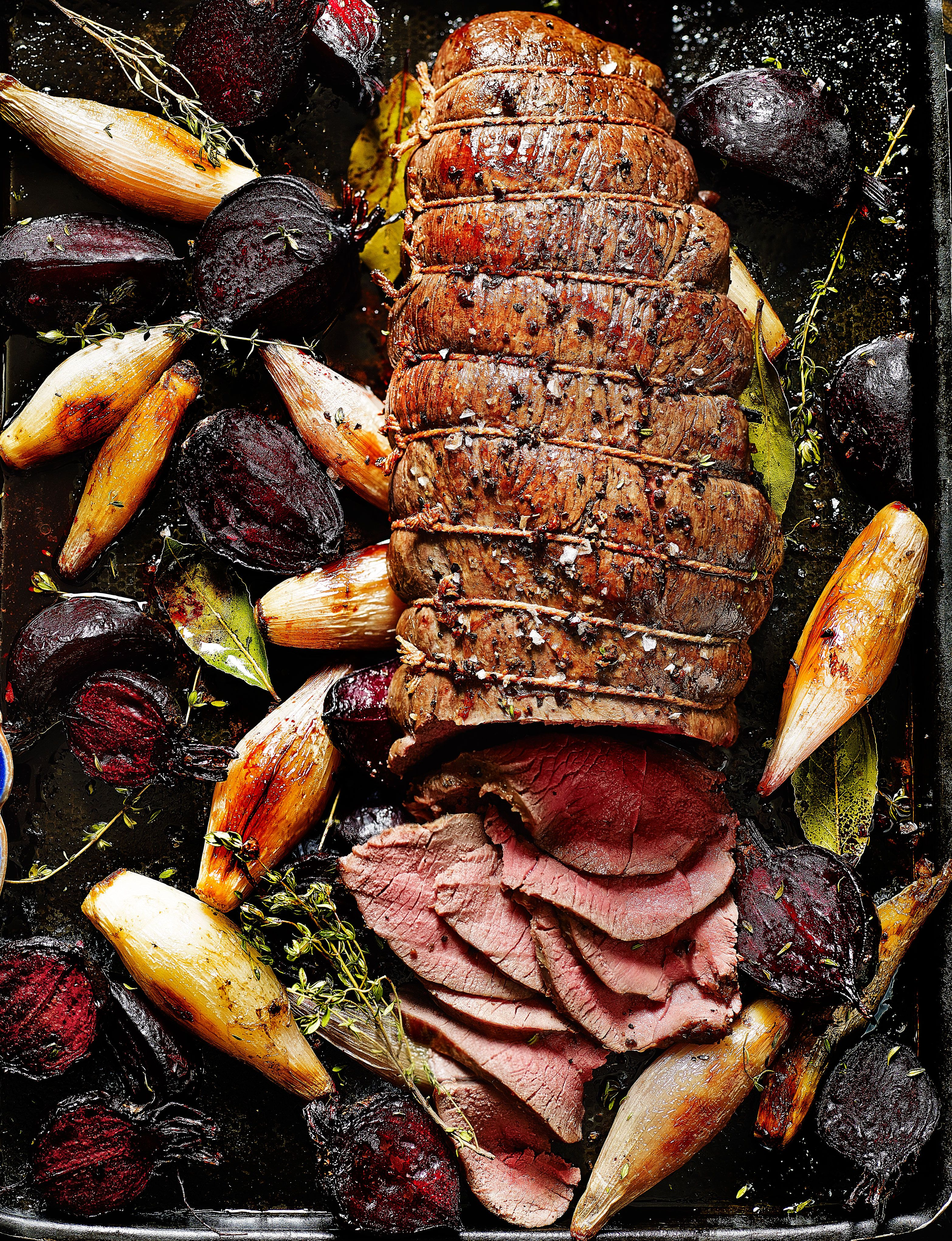 Dreamy roast venison haunch with beetroot, shallots and horseradish..... YUM.
