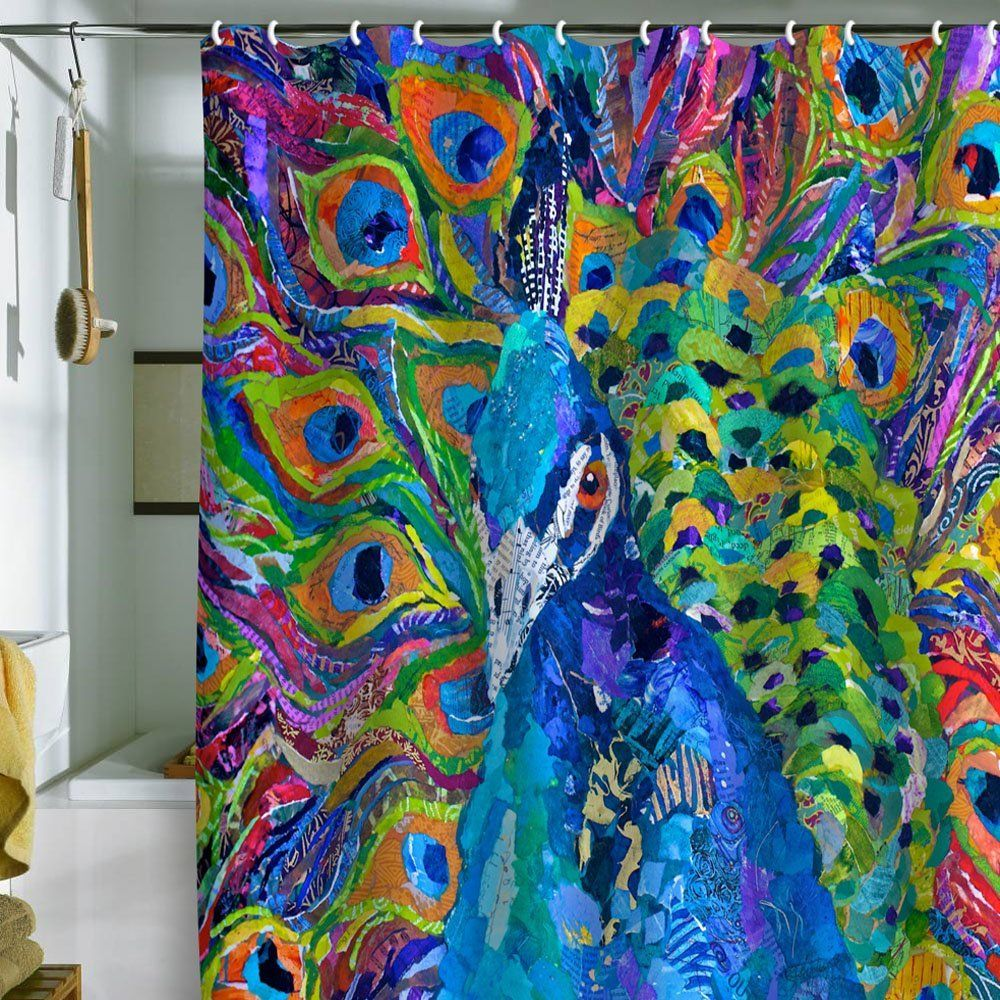 ArchitectureBeautiful Peacock Shower Curtain Beside The Bathtub Combined With Brush And White Wall Paint