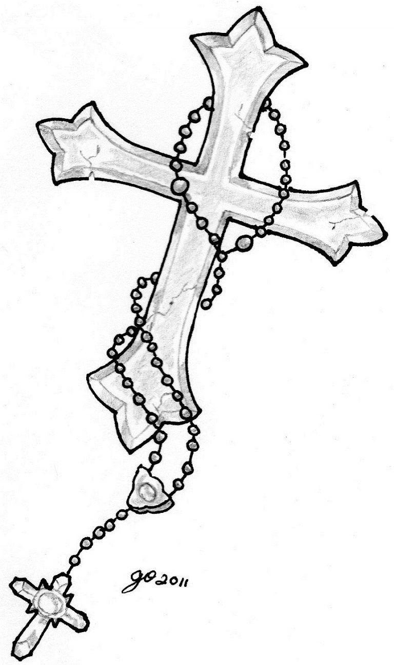 50+ Cross Tattoo Designs To Show Your Faith - Tats 'n' Rings #rosarybeadtattoo