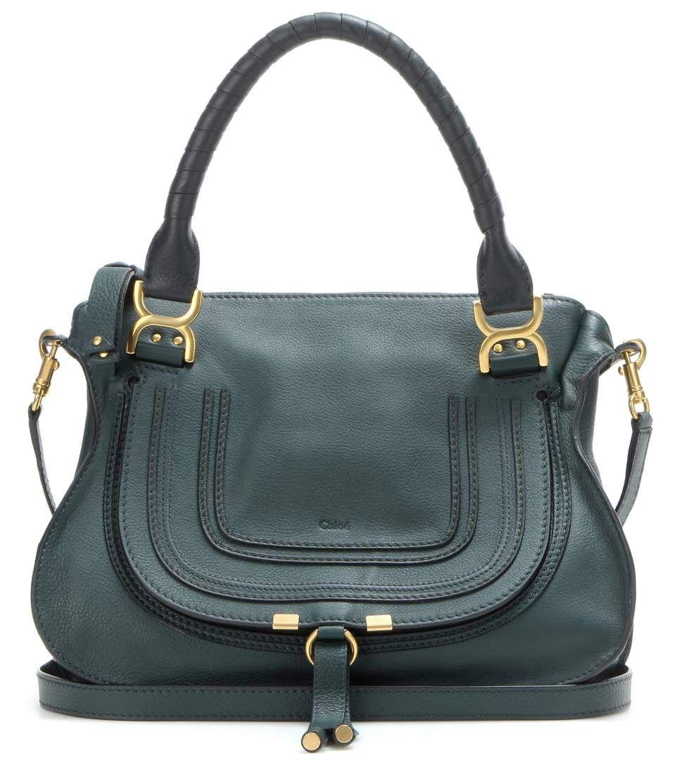 Marcie Medium dark green leather shoulder bag / Chloé