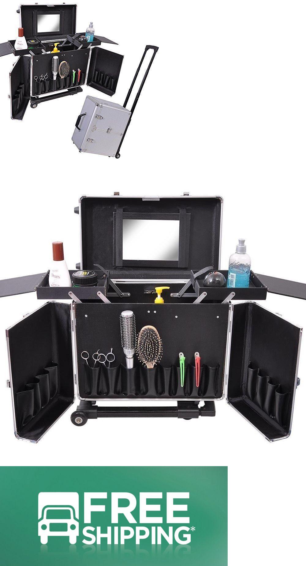 a30e1aa536cc Rolling Makeup Cases Barber Tool Box Hair Salon