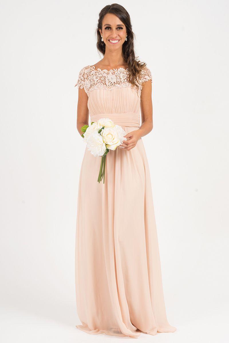 Celine Embellished Shoulder Formal Dress In Blush Model Chic Yes