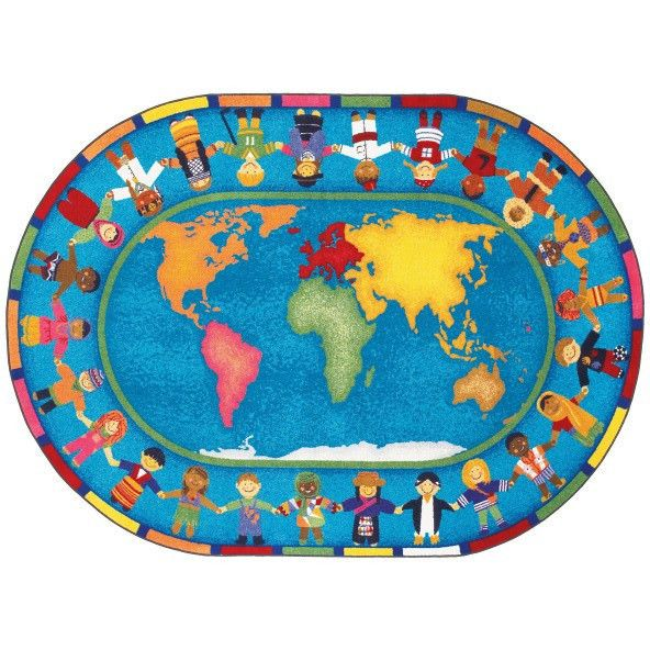 Educational Rugs Cheap: Hands Around The World Classroom Rug 5'4 X 7'8 Oval