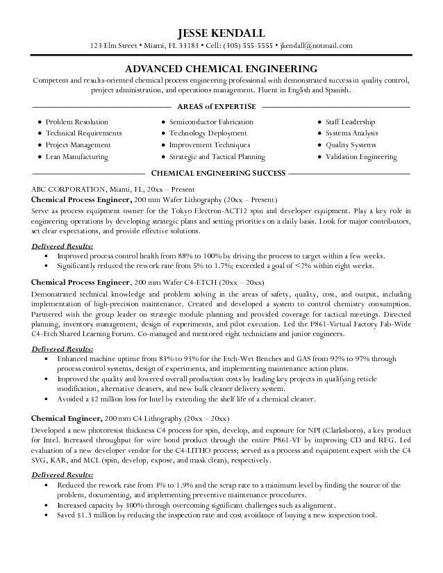 resume sles for chemical engineers chemical engineer