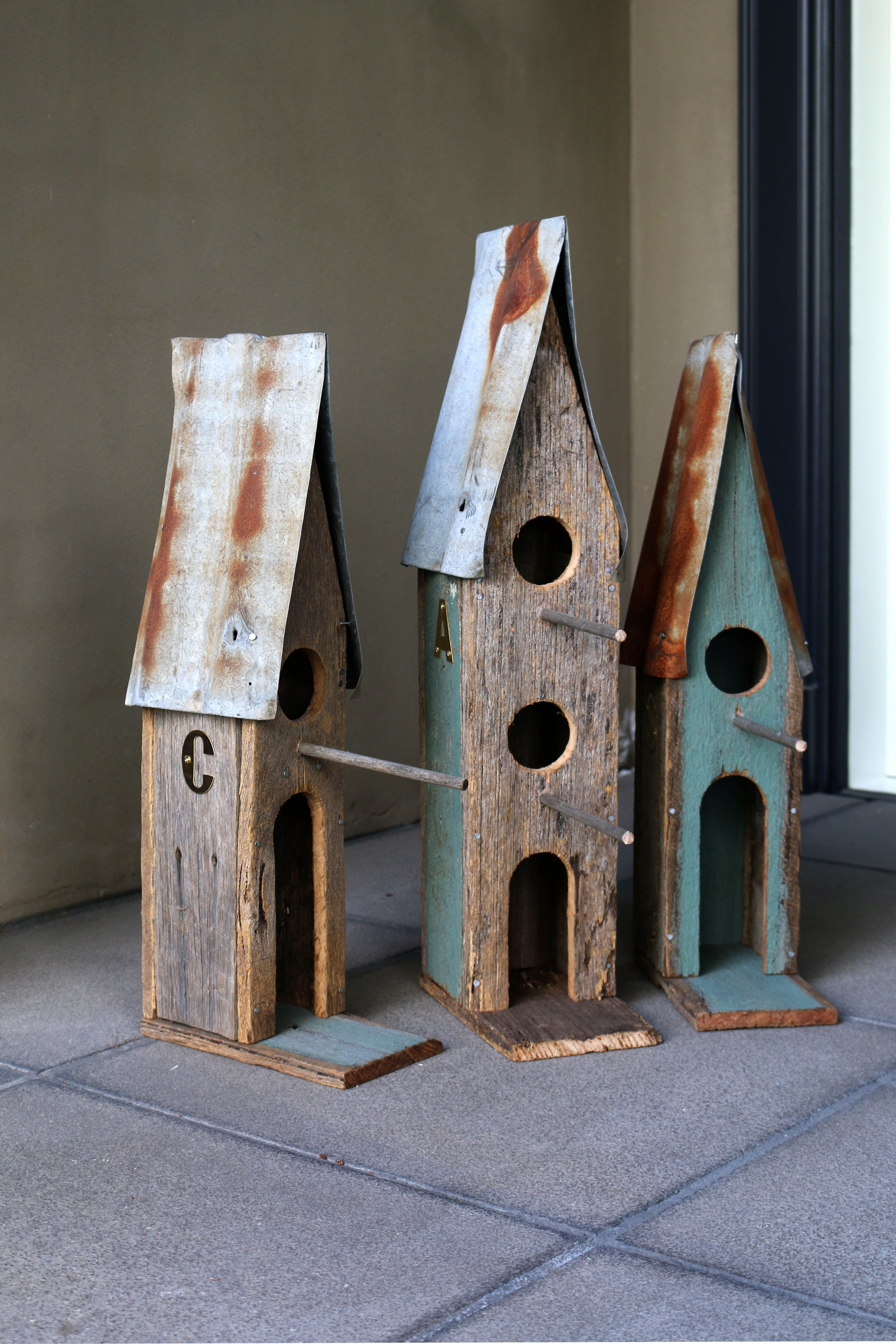 Handmade Birdhouses By Boodle Concepts In Melbourne These Bespoke Gifts Are Made In St Kilda From Rustic Reclai Handmade Birdhouses Bird Houses Iron Wall Art
