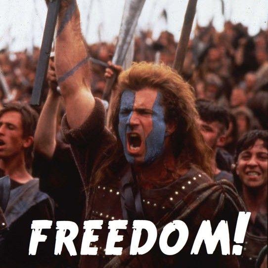 "Braveheart lead yells ""freedom!"""